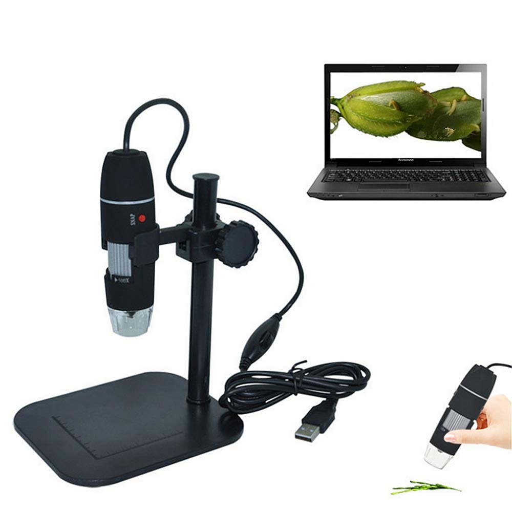 Endoscopio educativo electrónico USB 50 a 1000x Aumento Endoscopio 8 LED USB electrónico Microscopio digital Mini microscopio de cámara con soporte plegable Real Sensor 2MP 8 LED USB Microscopio digital portátil de m 5dcc8f