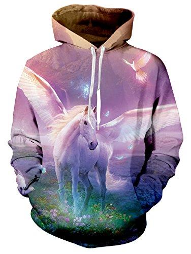 RAISEVERN Women's Galaxy Pegasus Printed Long Sleeve Pocket Pullover Hoodie Sweatshirt