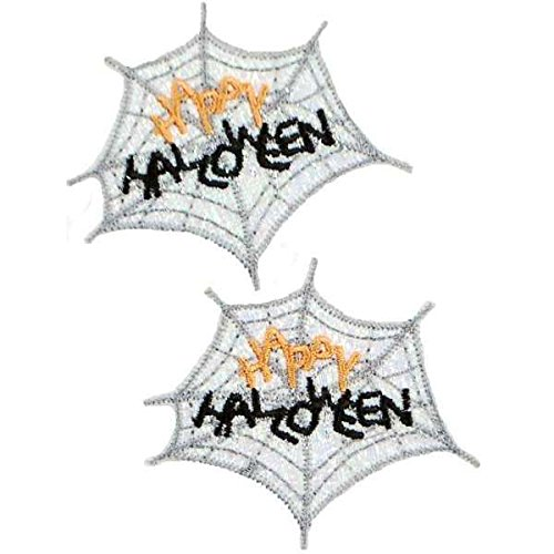 Expo International Happy Halloween Web Iron-on Applique Trim Embellishment, Multi-Color, 2-Pack -