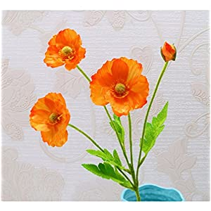 tutu.vivi Real Touch Silk Corn Poppies Decorative Silk Fake Artificial Poppy Flowers for Wedding Holiday Bridal Bouquet Home Party Decor Bridesmaid 5 PCS (Orange) 43
