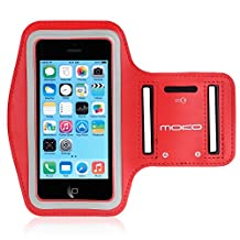 iPhone SE / 5 / 5S / 5C Armband, MoKo Protective Sports Armband for Apple iPhone SE / 5 / 5S / 5C - Key Holder & Card Slot, Water-proof, Sweat-proof, Perfect Earphone Connection while Workout Running, RED