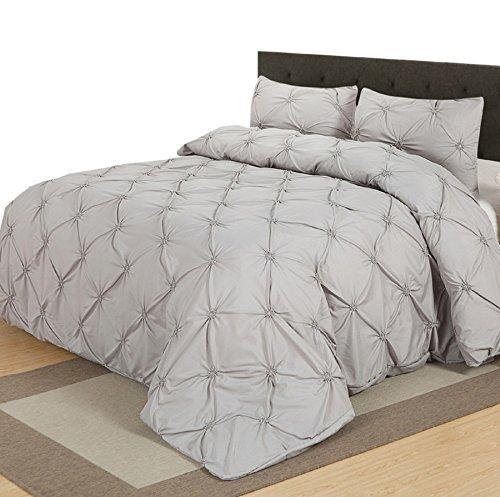 Luxurious Light Grey Pinch Pleat Duvet Cover Set, Twin