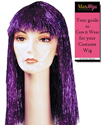(Tinsel Pageboy Long Color Metallic Red - Lacey Wigs Women's Party Nightclub Page Boy wit Bangs Style New Years Bundle with MaxWigs Costume Wig Care Guide)