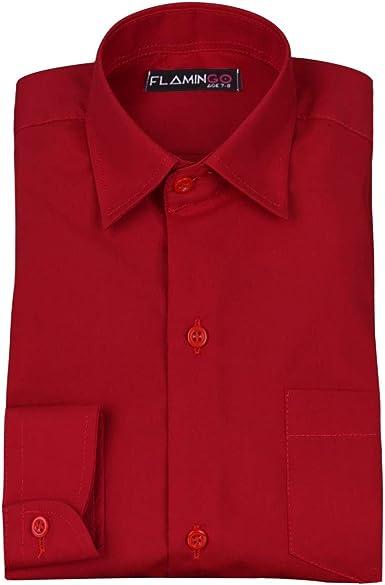 SIRRI Camisa roja Formal con Cuello clásico para Boda de Page Boys Rojo Rosso 1-2 años: Amazon.es: Ropa y accesorios