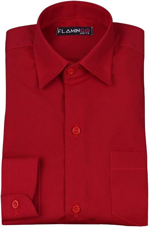 SIRRI Camisa roja Formal con Cuello clásico para Boda de Page ...