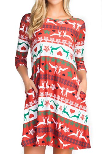 ICONOFLASH Christmas Dresses with Pockets for Women 3/4 Sleeves Swing Holiday Party Dress Up Color Reindeer Pattern, Size Medium (Cupid Reindeer)
