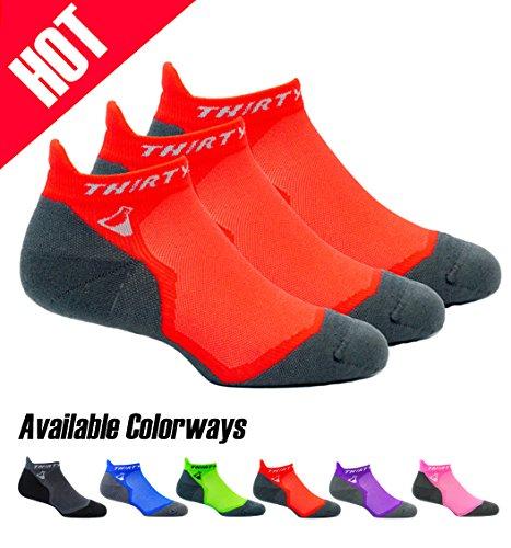 Thirty48 Ultralight Athletic Running Socks for Men and Women with Seamless Toe, Moisture Wicking, Cushion Padding (Large - Women 9-10.5 // Men 10-11.5, [3 Pairs] Orange/Gray)