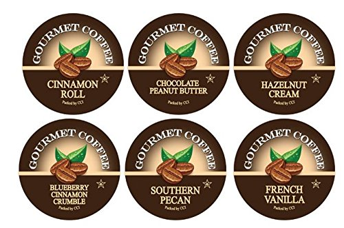 Smart Sips, Flavor Lovers Coffee Variety Sampler Pack, Chocolate Peanut Butter, Blueberry Cinnamon Crumble, Cinnamon Roll, French Vanilla, Hazelnut, Southern Pecan - for Keurig K-cup Machines