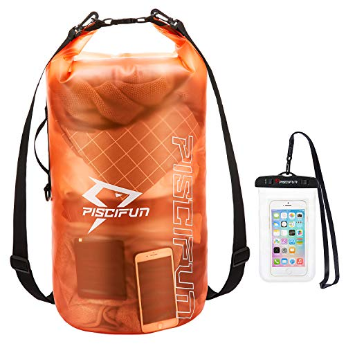 Piscifun Waterproof Dry Bag with Phone Case for Women and Men, Transparent Dry Bag Lightweight Dry Bag Backpack for Beach, Swimming, Boating, Kayaking, Surfing and Fishing 2L Orange