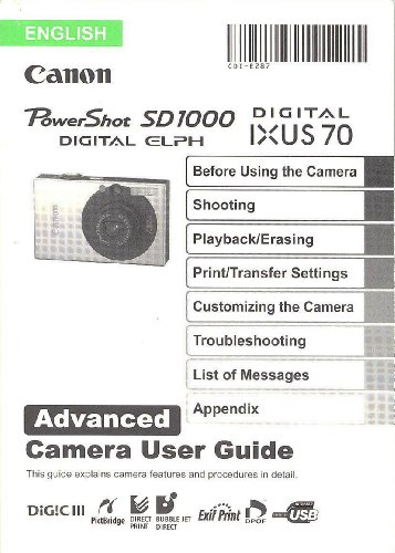 Price comparison product image Canon PowerShot SD1000 Digital Elph / Canon Digital IXUS 70 Advanced Original User Guide / Instruction Manual