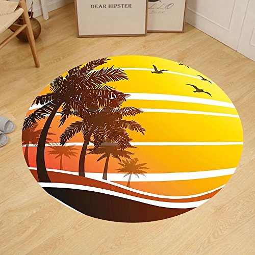 Gzhihine Custom round floor mat Tropical Sunset at Exotic Beach with Palm Trees Birds Summer Vacation Label Style Bedroom Living Room Dorm Yellow Coral - At Stores Palm Outlet Beach