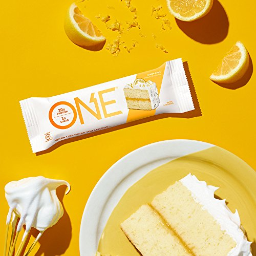 ONE Protein Bar, Lemon Cake, 2.12 oz. (12 Pack), Gluten-Free Protein Bar with High Protein (20g) and Low Sugar (1g), Guilt Free Snacking for Healthy Diets