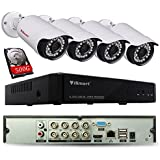 iSmart 8 Channel Lite 1080N 5-in-1 Hybrid DVR Security System with 500GB HDD ( AHD TVI CVI NVR with 4 720p Outdoor Bullet Camera ), Night Vision 80ft, Smartphone Remote Viewing