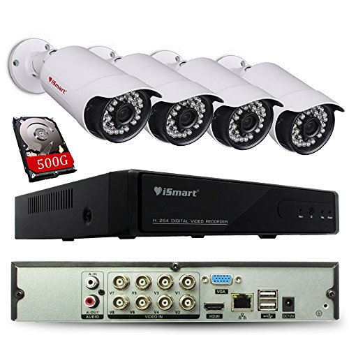 iSmart 8 Channel Lite 1080N 5-in-1 Hybrid DVR Security System ( AHD TVI CVI NVR with 4 720p Outdoor Bullet Camera ), Night Vision 80ft, Smartphone Remote Viewing with 500GB HDD
