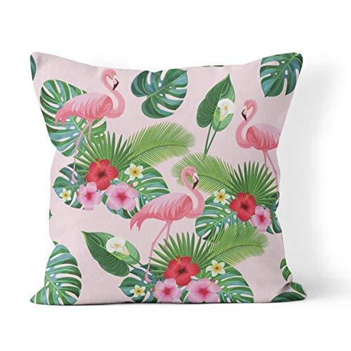 - Wesbin Throw Pillow Cover Pink Monstera Flamingo Pattern Red Calla Lilly Composition Flowers New Living Hidden Zipper Home Sofa Decorative Cushion 16x16 Inch Square Design Print