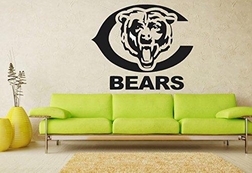 - Chicago Bears Logo NFL Team Wall Art Sticker Decal Garage Man Cave Decor (Black)