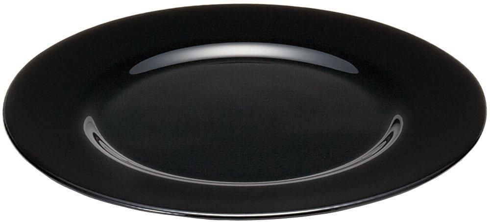 アデリア ガラス 皿 格子柄 黒 最大32×高2.1cm プレート 日本製 F-77473  ブラック B00WQZGBDC