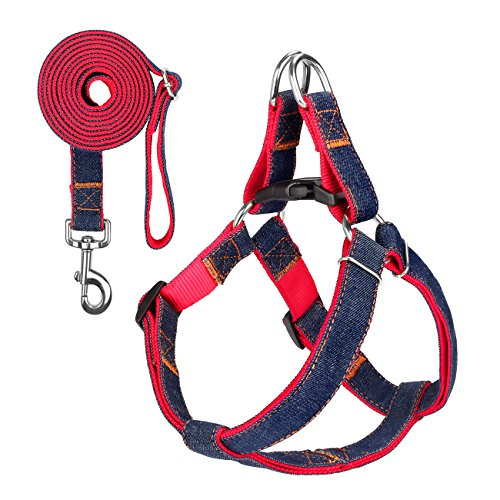 Dog Leash Harness, SHINE HAI Adjustable & Durable Leash Set, Heavy Duty Denim No Pull Dog Leash Collar, Perfect for Daily Training Walking Running, Suitable for Large Dog