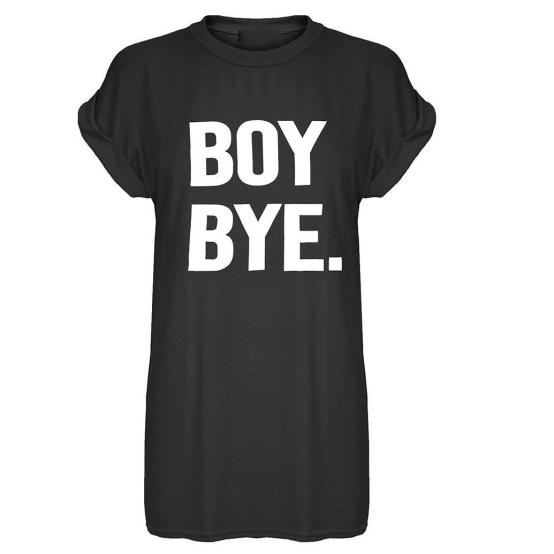 Beautyfine Women's Casual Soft BOY Bye Print Short Sleeve T-Shirt Top Dress