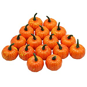 YOFIT 16 Pcs Artificial Fruit Fake Mini Pumpkins for Halloween House Party Decoration 60