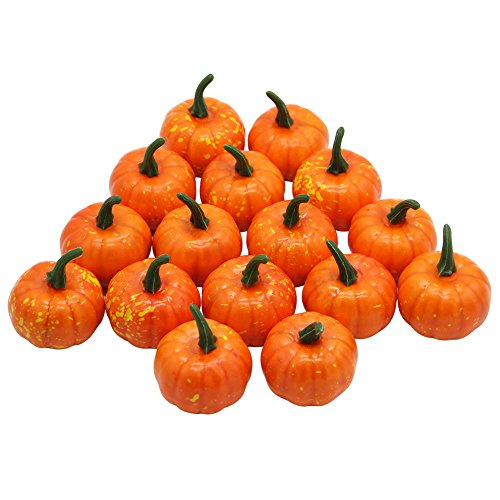 Yofit 16 Pcs Artificial Fruit Fake Mini Pumpkins for Halloween House Party Decoration (Orange)