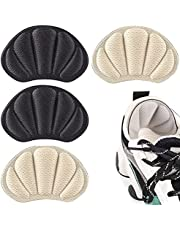 Darger Heel Grips for Loose Shoes, Heel Cushion Liner for Blisters, Self-Adhesive Heel Protector Pads 2 Pairs (Black+Beige)