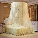 Mosquito Net Court Style Bed Canopy For Double Bed Fly Insect Protection Indoor Decorative Height 270cm Top Diameter 1.2m Polyester