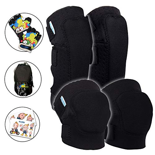 Innovative Soft Kids Knee and Elbow Pads Plus Bike Gloves | Toddler Protective Gear Set w/Stickers | Comfort Breathable Safe | Roller-Skate, Skateboard for Children Boys and Girls (Black, 4-8)