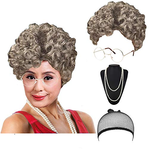 Women's Cosplay Costume Old Lady Wig, w/Round Glasses & Pearl Necklace Beads Costume Accessories for Dress up Perform (C1) -