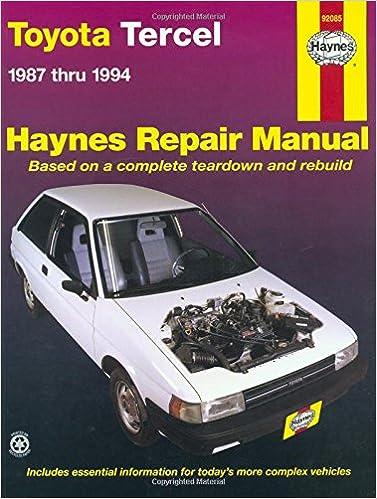 Toyota tercel 1987 thru 1994 haynes repair manual haynes toyota tercel 1987 thru 1994 haynes repair manual 1st edition fandeluxe Images