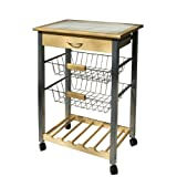Organize It All Providence Kitchen Cart with Baskets, Tan/White/Black/Silver
