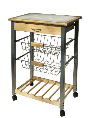 Organize It All 34122W-1 Serving Cart, Tan, White, Black, Silver