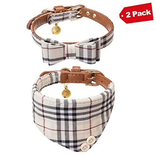 EXPAWLORER Bow Tie Dog Collar with Bell, 2 Pack Classic Plaid Adjustable Collars Bowtie Bandana for Puppy ()