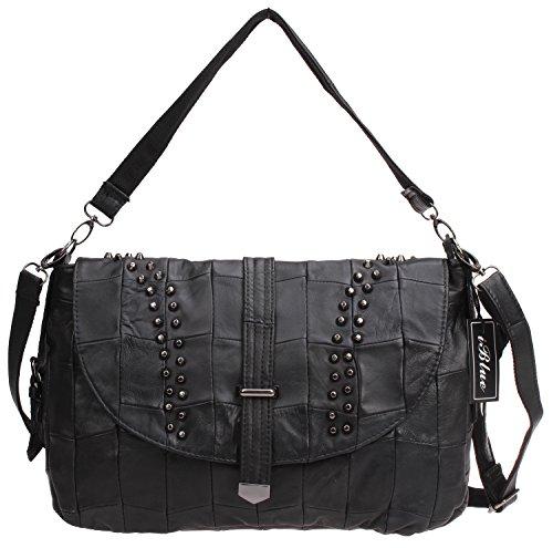 Lamb Leather Hobo Handbag (Iblue Womens Lambskin Leather Travel Tote Bag Shoulder Handbag Black #i386 (Black))