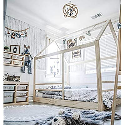 Full Size House Bed Frame with Railings: Handmade
