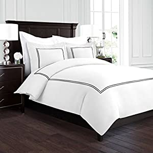 Beckham Hotel Collection Luxury Soft Brushed 2100 Series Embroidered Microfiber Duvet Cover Set with Beautiful 2-Stripe Embroidery - Hypoallergenic - Full/Queen - White/Black