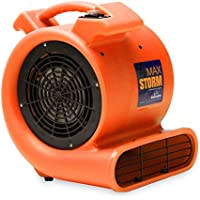 Max Storm 1/2 HP Durable Lightweight Air Mover Carpet Dryer Blower Floor Fan for Pro Janitorial, Orange
