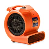 Soleaire Max Storm 1/2 HP Durable Lightweight Air Mover Carpet Dryer Blower Floor Fan Pro Janitorial, Orange