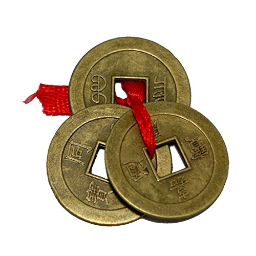 Ancient Good Luck Charms - Divya Mantra Chinese Feng Shui Antique Fortune I-Ching Coin Ornaments for Good Luck, Success & Prosperity/Ancient Tibetan Buddhist Wealth Charm Amulet Coins w/Hole & Red Knot - Brown