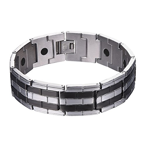 U7 Magnetic Therapy Bracelet Pain Relief for Arthritis and Carpal Tunnel Stainless Steel Tourmaline Power Therapy Magnets Bangle 21CM (Best Pain Relief For Carpal Tunnel)