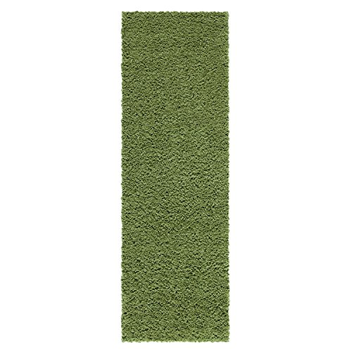 Runner Rug, Maples Rugs [Made in USA][Catriona] 2' x 6' Non Slip Hallway Entry Area Rug for Living Room, Bedroom, and Kitchen - Moss Green