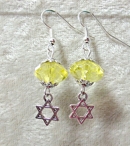 Acrylic Crystal Star of David Earrings/Citrine
