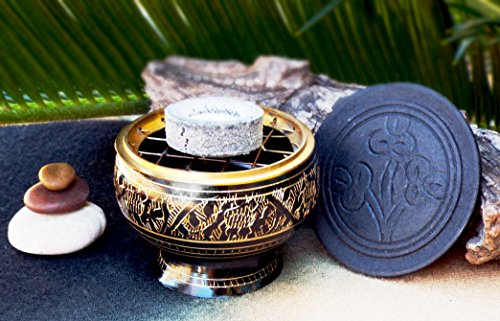 Incense Burner Kit includes Brass Burner, Charcoal, White Sage Leaves, Frankincense, Dragon's Blood, Copel Incense Resins, Sand
