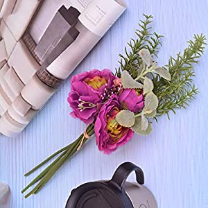 Lulian/Rosemary Bunch Artificial Silk Flowers Non-Fading for Home Kitchen Office Decor Wedding Party Decorations Living Room Decor Farmhouse Decor Fake Plants for DIY Wall Decor Spring Wreath(1pc,Red) 3