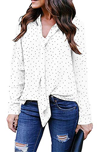 roswear Women's High Low Curved Hem Bow Tie Neck Polka Dot Blouse Shirt White L