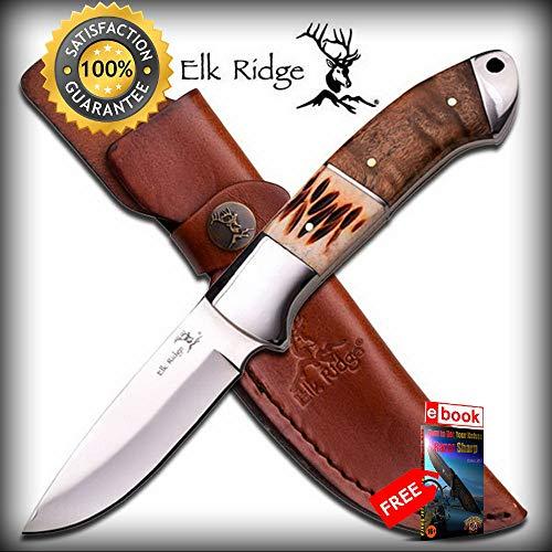 FIXED BLADE HUNTING SHARP KNIFE Elk Ridge Bone Handle Survival EDC Camp Sheath ER-533 Combat Tactical Knife + eBOOK by Moon ()