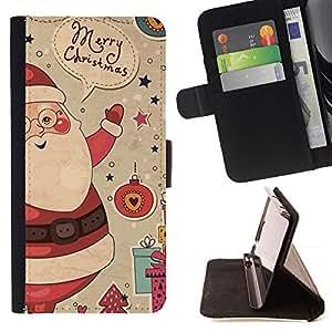 For HTC Desire 820 Case , Regalos Merry Christmas Winter Ho- la tarjeta de Crédito Slots PU Funda de cuero Monedero caso cubierta de piel