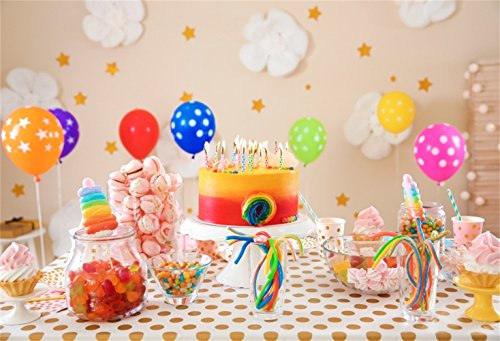 Laeacco Sweet Colorful Dessert Table Backdrop 10x6.5ft Vinyl Pastel Cotton Flowers Wall Colorful Balloons Candies Rainbow Cake Polka Dots Table Photography Background Baby Birthday Banner Cake Smash
