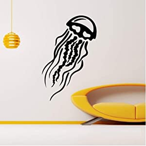 Wall Stickers for Home Decoration Living Room Bedroom Wall Art Animal Jellyfish in The Bathroom Medusa Sea Ocean Wall Window Decals Waterproof Decal Mural Kids Playroom 56x87cm