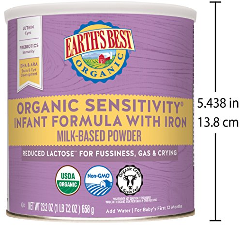 Earth's Best Organic Low Lactose Sensitivity Infant Powder Formula with Iron, Omega-3 DHA and Omega-6 ARA, 23.2 oz. (Pack of 4) by Earth's Best (Image #5)